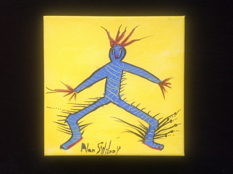 "Blue Shaman - Yellow Series # 3 - 8"" x 8"""
