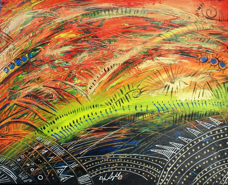 Burning Sunset # 1  16x20 Acrylic on Canvas framed