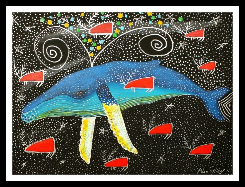 Humpback-Swimming-in-the-Milky-Way-with-Red-Caribou-18x24-acrylic-on-canvas-2