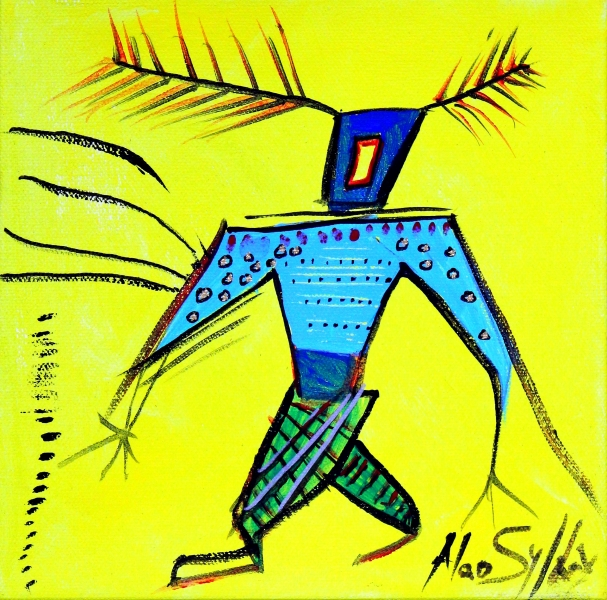 Man With Blue Shirt - Yellow series # 2           Acrylic on Canvas       8x8