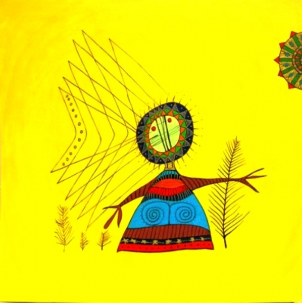 Mikmaq-Woman-with-Basket-Weave-Sun-4x4-Acrylic-on-Masonite-Framed-Location-Studio