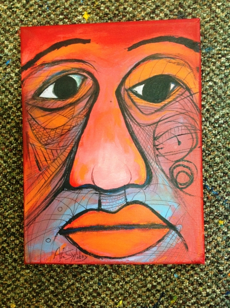 "Crimson Man # 1 9"" x 12"" Acrylic on Canvas.JPG"