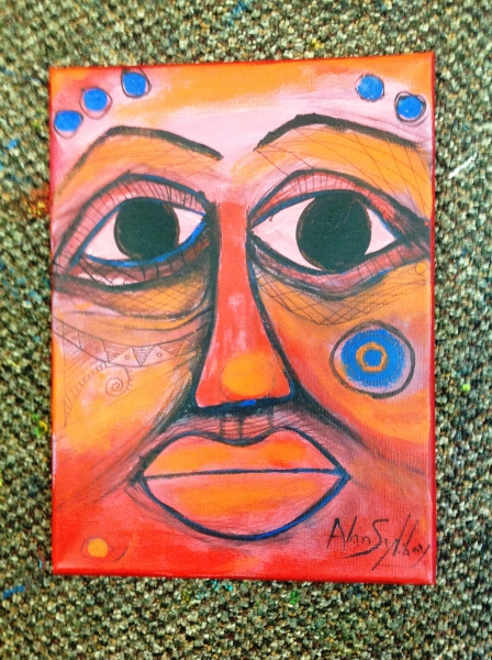"Crimson Man # 2 9"" x 12"" Acrylic on Canvas.JPG"