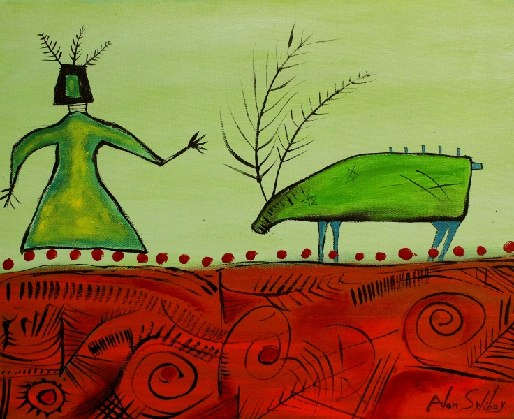 Woman-and-Caribou-wearing-green-16x20-Acrylic-on-Canvas