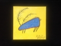 """Blue Caribou with marks on him - Yellow Series # 7 - 8"""" x 8"""""""