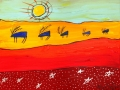 Five Blue Caribou Under a Yellow Sun 12x16      Acrylic on Canvas