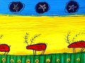 Five Caribou with Gold Stars       12x36  Acrylic on Canvas