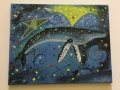 Humpback Blowing Yellow Bubbles 16x20 Acrylic on Canvas Unframed Sept 2017