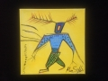 """Man with Blue Shirt - Yellow Series # 2 - 8""""x 8"""""""