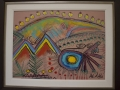 Two Wigwams and Spirits over a HIll 20 x 24 Framed Acrylic on Masonite - Syilboy Photo