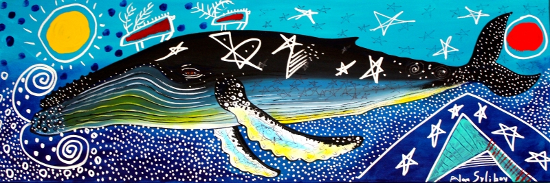 Humpback with Two Caribou       12 x 36    acrylic on canvas