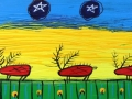 Five Caribou with Silver Stars       12x36     Acrylic on Canvas